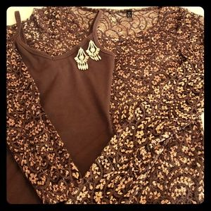 Gorgeous brown lace top with coordinating tank